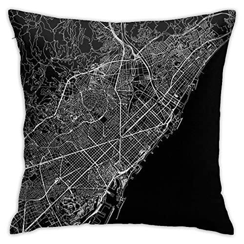 Funda de almohada decorativa con diseño de mapa negro de Barcelona, funda de cojín con cremallera, 45,7 x 45,7 cm
