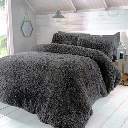 Rapport So Soft Luxury Fur Charcoal Double Duvet Cover Set Bedding Bed Set