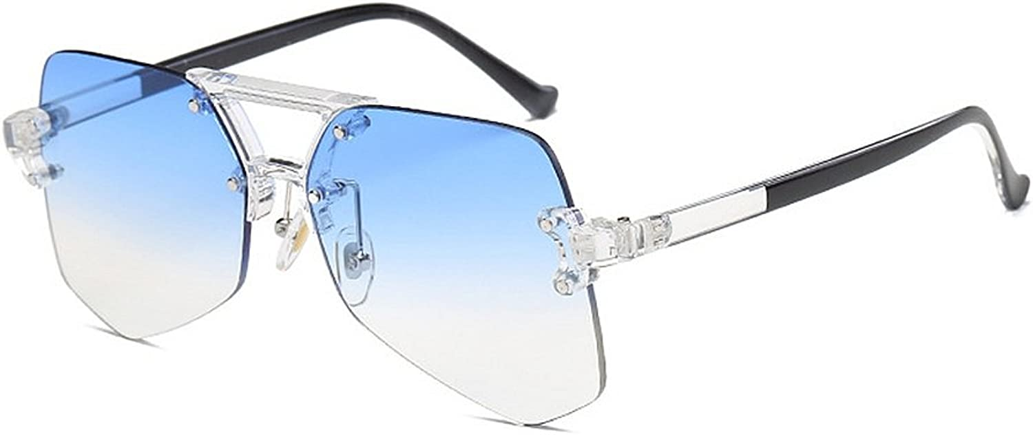 Women's Sunglasses Personality Transparent Frameless for Unisex Irregular Oversized Clear colorful Lady's Sunglasses UV Predection for Driving Travelling,