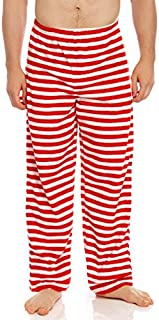 Image of Coloful Red and White Striped Christmas Pajama Pants for Men