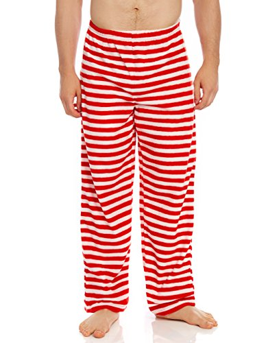 Leveret Men's Fleece Sleep Pants Red & White X-Large