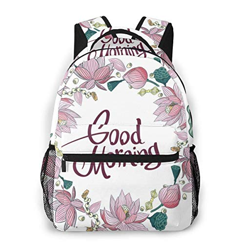 Leisure Backpack Classic Light Backpack College Travel Bag for Travel,College,School,Wreath of Lotus Flowers Vajra and Beads with Lettering Good Morning