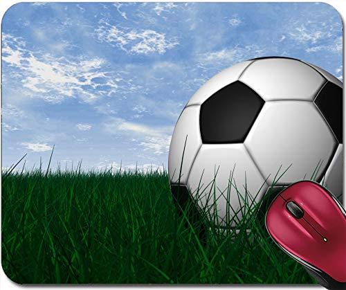 WH-CLA Mousepad : Render De Balón De Fútbol sobre Hierba Verde Y Cielo Azul 25X30 Cm Escritorios Navideños Alfombrilla De Ratón Duradera para Estudiantes Regalo Alfombrilla De Goma para
