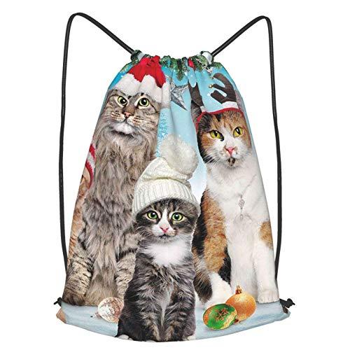 Mochila de Navidad adorable para gatos, mochila con cordón, una mochila ligera adecuada para baloncesto al aire libre y gimnasios de interior