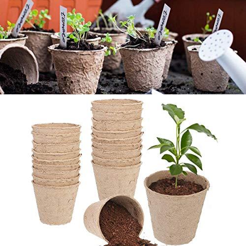 MSYU - Lot de 100 pots de fleurs en fibre de 7,6 cm et de 100 étiquettes vierges réutilisables de 9,9 cm