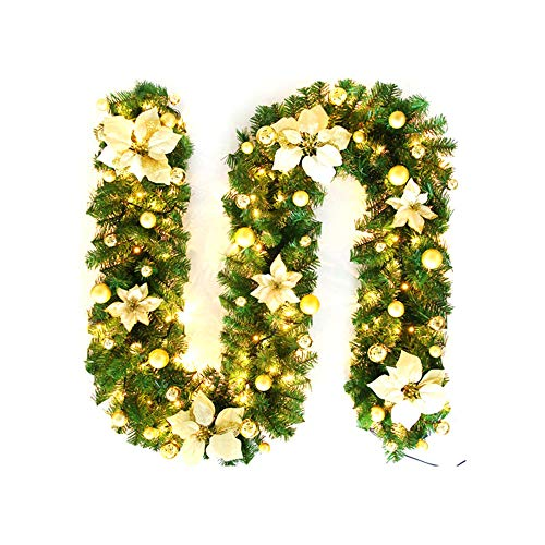 SmartHitech Guirnalda Navideña de 9Pies / 2,7M, Guirnalda Artificiales Decorada Preiluminada con Luz de Flor LED para Escaleras Decoración de Fiesta de Festival de Chimenea (Dorado)