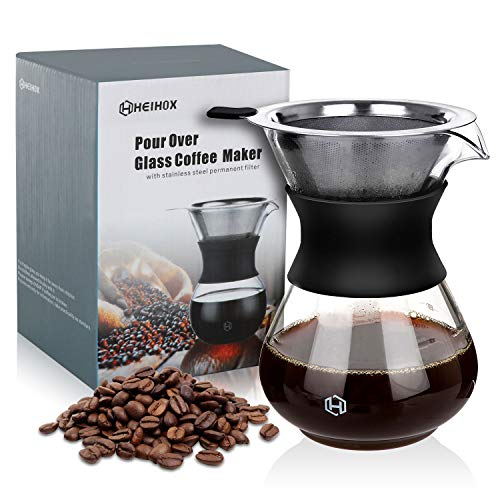 Pour Over Coffee Maker Set - HEIHOX 14 ozPour Over Coffee Dripper with PaperlessReusable Stainless Steel Cone Filter, Glass Coffee Carafe with Protective Silicone Sleeve