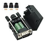 YIOVVOM DB9 9-poliger Adapter RS232 Seriell auf 3-poliger Terminalstecker mit Gehäuse (Male Connector)