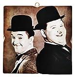 KUSTOM ART Cuadro de estilo vintage de Stanlio & Ollio (Stan Laurel & Oliver Hardy) de colección impresión sobre madera