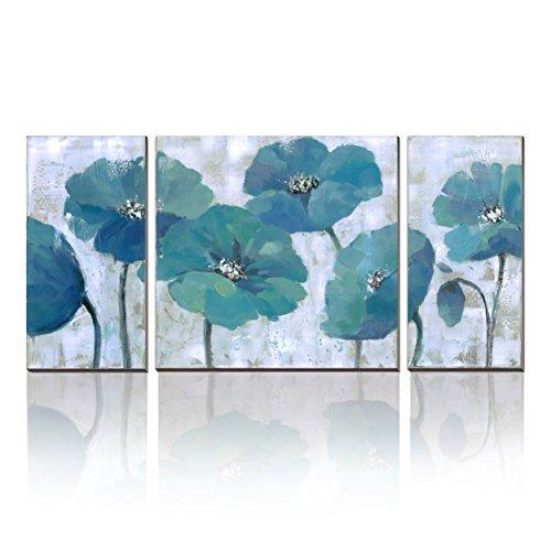 752ff770322 3Hdeko - Teal Flower Painting Aqua Blue Floral Wall Art Prints on Canvas  for Living Room