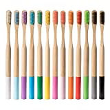 ECOFWORLD Natural Bamboo Toothbrushes with Round Handle Biodegradable Vegan - Compostable Organic Reusable Wooden Brush | Soft Bristle | Adult Multi-Color (8 Pack)
