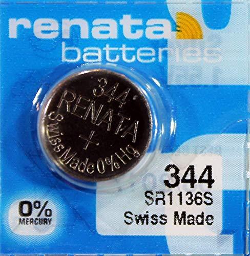 Renata Knopfzelle X344 SR1136S, 2 Blisterpackungen mit je 1 Knopfzelle