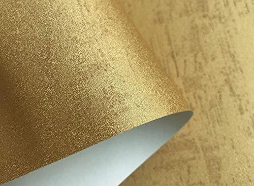 Papel pintado liso metálico retro de color sólido para paredes Cemento en rollo Papel de pared industrial de hormigón, dorado, gris, rojo, azul, verde, negro 10mx53cm-Oro