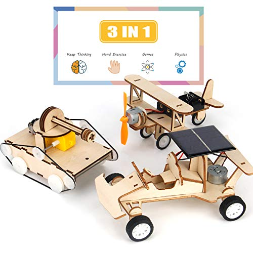 3D Wooden Puzzle Solar Car, 3-in-1 STEM Science Kit Toy to Build Wood Models Including Solar Power Vehicle Electronic Tank and Plane Toys Set, DIY Educational Play Set for Aldults, Kids, Boys & Girls
