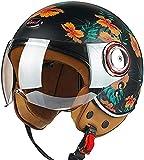ZLYJ Casco Moto Aperto omologato ECE Casco Mezzo Casco Retro 3/4 per Moto da Corsa Casco Pilota Jet Motocross Vespa Ciclomotore Cruiser C,M(54-56cm)