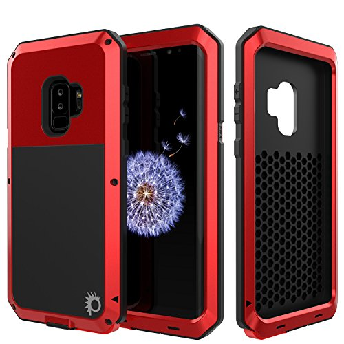 Galaxy S9 Plus Metal Case, Heavy Duty Military Grade Armor Cover [Shock Proof] Hybrid Full Body Hard Aluminum & TPU Design [Non Slip] W/Prime Drop Protection for Samsung Galaxy S9+ [Red]