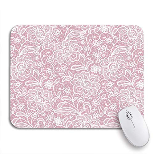 Gaming Mouse Pad Pattern Lace Floral Crochet White Vintage Love Wedding Traditional Nonslip Rubber Backing Computer Mousepad for Notebooks Mouse Mats