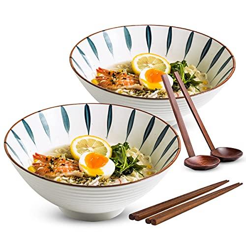 Porcelain Japanese Ramen Bowl Set Noodle Pho Bowl with Chopsticks and Large Spoon Set of 2, 42 oz