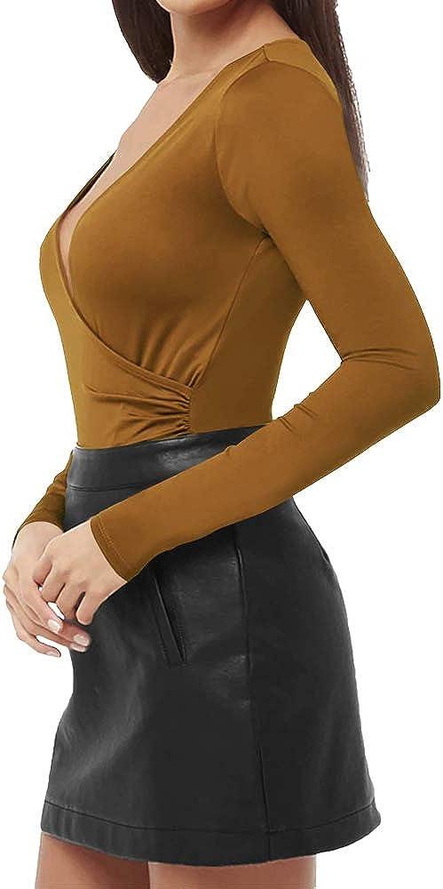 MANGOPOP Damen Surplice Ruched Plunge Neck Deep V Kurzarm Langarm Bodysuit Jumpsuits