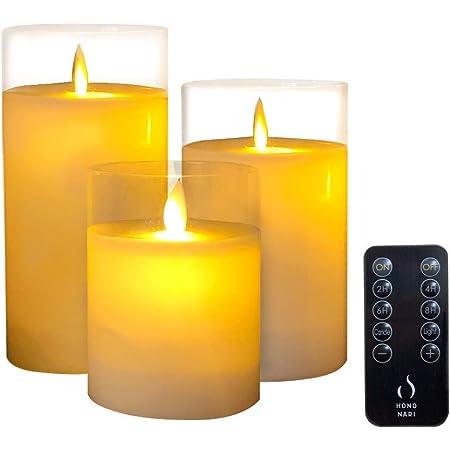 HONONARI LED キャンドル ライト Glass 専用リモコン付 3点セット