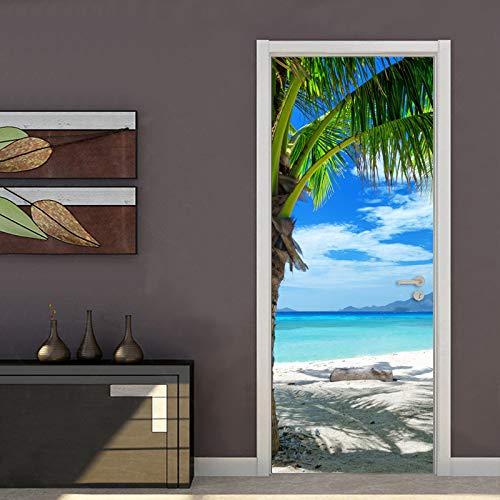 Yelilad Türtapete Selbstklebend TürPoster Tür Aufkleber 3D kreative DIY wohnkultur Aufkleber PVC Selbstklebende tapete Strand küste Fotografie fototapete tür Mural 30,3x78,7 Zoll