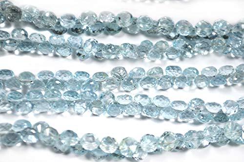 Cielo naturale blu topazio sfaccettato cipolla briolette perline cipolla naturale cielo, topazio blu naturale, dimensioni 6 mm (circa) filo da 9
