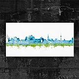 Münster Skyline Stadt Blue by DiChyk (div. Größen) - Kunst Druck auf Leinwand - Bild fertig auf Keilrahmen ! Graffiti Like Banksy Art Gemälde Kuns (60x120cm)