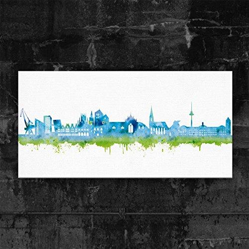 Münster Skyline Stadt Blue by DiChyk (div. Größen) - Kunst Druck auf Leinwand - Bild fertig auf Keilrahmen ! Graffiti Like Banksy Art Gemälde Kuns (70x140cm)