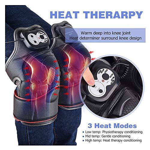 Elektrisches Knie Massagegerät Physiotherapie für Schmerzlinderung mit Wärme und Vibrieren Knie Therapie Wrap Massage Ideal Geschenk (Schwarz)
