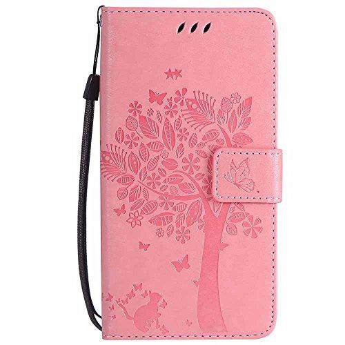 Wiko Leny 4 Hülle, C-Super Mall-UK Prägung Baum Katze Schmetterling Muster PU Leder Brieftasche Ständer Flip Schutzhülle für Wiko Leny 4-Rosa