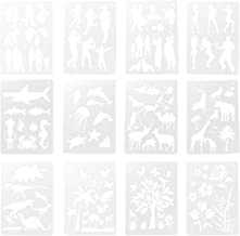 EXCEART 12pcs DIY Craft Painting Stencils Template Art Craft Scrapbook Stencil DIY Painting Craft Projects (White)