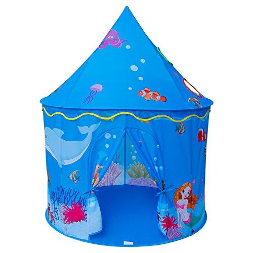 Homfu Tienda del Juego Tienda de Campaña para Niños Castillo Juego en casa para Chicos Plegable autoarmable (Azul)