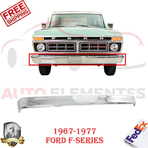 New Front Bumper Face Bar Chrome Steel For 1967-1977 Ford F-Series F-100 F-250 F-350 F-500 Custom Extended/Standard Cab Pickup Base Cab & Chassis Direct Replacement FO1002102 C4TZ17757D