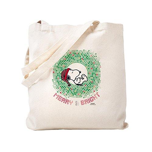 CafePress–Peanuts Snoopy Merry und hell–Leinwand Natur Tasche, Tuch Einkaufstasche S khaki