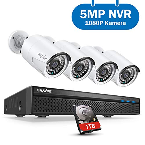 SANNCE Überwachungskamera System, POE Überwachungskamera Set 5MP 8CH NVR+4 * 1080P Wasserdicht Kamera mit 1TB Festplatte Smart IR LEDs,Bewegungserkennung,APP Alarm,Nachtsicht bis zu 30 Meter