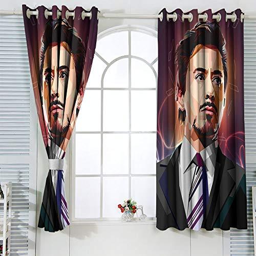 STTYE The Avanger Wpap Art Iron Man - Juego de 2 cortinas para ventanas (72 x 63 cm)