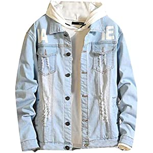 Men's Destroyed Ripped Jean Letters Print Coat Button Down Denim Jacket
