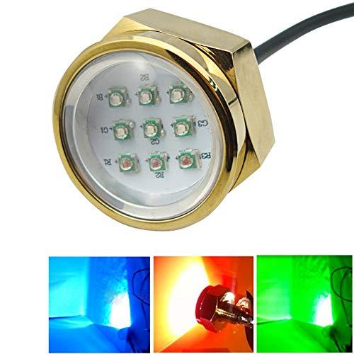 Lightss YHM 9 * 3 Watt Marine Unterwasserlicht, Aluminiumlegierung RGB Cree LED Ablassschraube Lampen mit Fernbedienung für Boot Yacht, DC 11-28 V (Externer Fahrer)