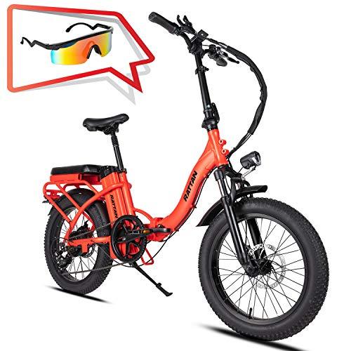 Rattan Folding Electric Bike 500W 48V 13AH Women's Step-Through LCD Display 3.0 Fat Tire Ebike for Adults All Terrain Foldaway 7 Speed Sport Commuter Snow Bicycle Off Road Dirt Bike Couple Models