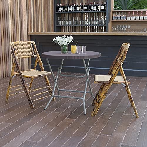 Flash Furniture 2.6-Foot Round Brown Rattan Plastic Folding Table