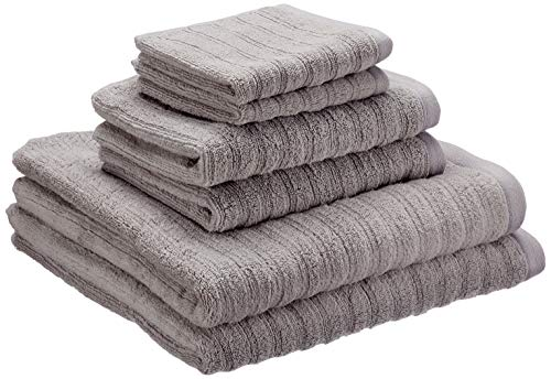 Price comparison product image iDesign Set of 6 Towels with Hangers,  Bath Towels Set Made of 100 Percent Cotton with Stripe Structure,  Towels Set with 2 Hand Towels,  2 Bath Towels and 2 Face Cloths,  Grey