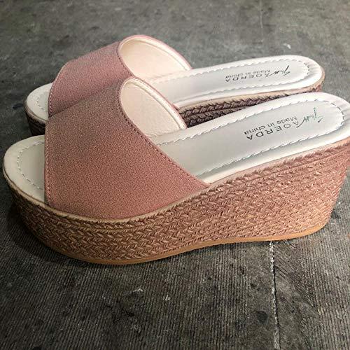 Wenhua Unisex Hausschuhe Damen und Herren Mattierte hochhackige Frauenschuhe mit Hangabsatz, Pink_34Herren Damen Badeschuhe Pantoffeln