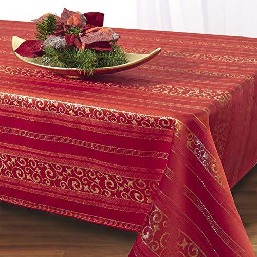 Kamaca Magic Moments - Mantel, color rojo con preciosos arabescos dorados, fibra sintética, rojo/dorado, 130 x 160...