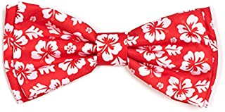The Worthy Dog Hawaiian Flower Pattern Comfortable Casual Bow Tie Cute Dog Accessories Fit Small Medium and Large Dogs - Aloha Coral Color