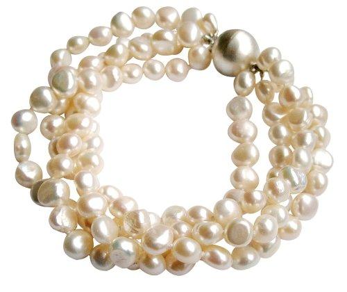 Grosso bracciale a quattro fili con perle barocche bianche coltivate d'acqua dolce con fermaglio Magneticoo rotondo in argento