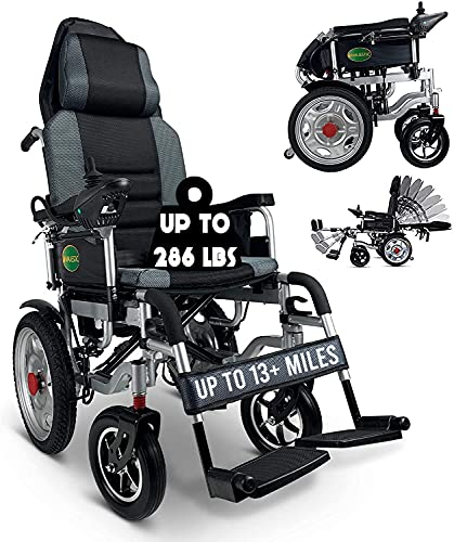 """2021 Hawk Mobility Limited Edition - Reclining Ultra Lightweight 18"""" Wide Seat, Foldable Travel Motorized Electric Power Scooter Travel Safe Heavy Duty Wheelchair (Black, 18"""" Seat Width)"""