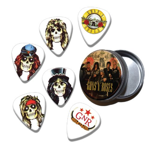 Guns N Roses Set of 6 Loose Chitarra Picks Plettri in Tin ( Collection C )