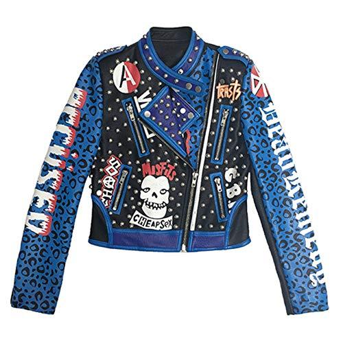 She Charm Lederjacke Frauen-Felsen Motor Biker Leopard-Druck Graffiti Verzierte Punk Geerntete Mantel,Blau,M