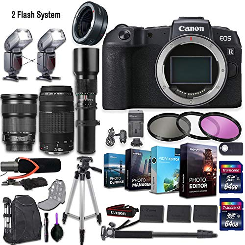Canon EOS RP Mirrorless Camera w/ 3 Lenses (Canon EF 24-105mm f/3.5-5.6 is STM, Canon EF 75-300mm f/4-5.6 III & 500mm Manual Preset) + 2 Flash System and Deluxe Accessory Kit