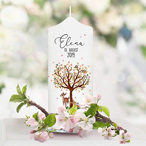 Wandtattoo Loft Taufkerze für Paten filigraner Baum mit Blüten, REH und Hase - Patenkerze zur Taufe, Geburt oder Kommunion – Kerze weiß 17 x 7 cm mit Name und Datum